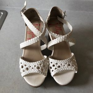 White wedge heels